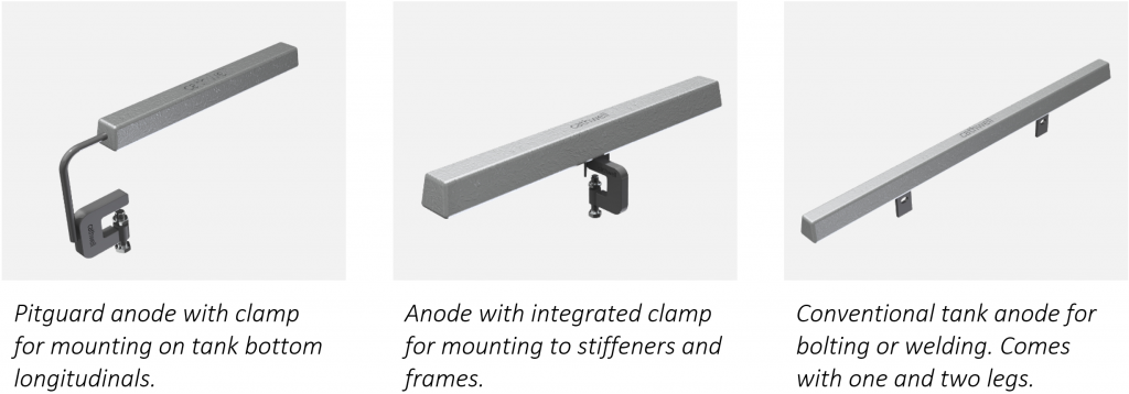 Commonly used sacrificial anodes for vessel's ballast and cargo tanks