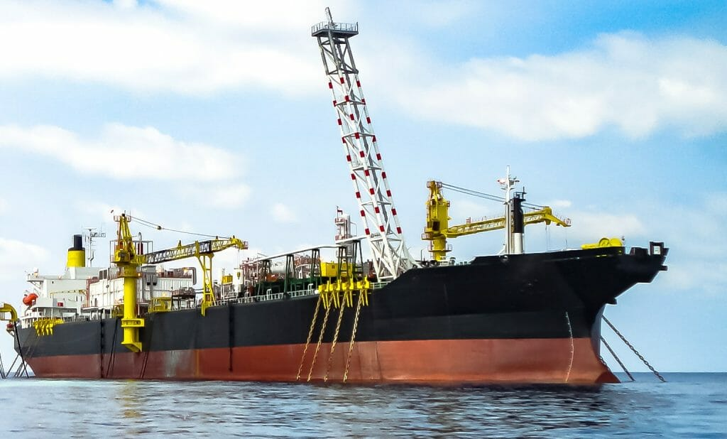 Floating storage unit (FSO) anchored offshore