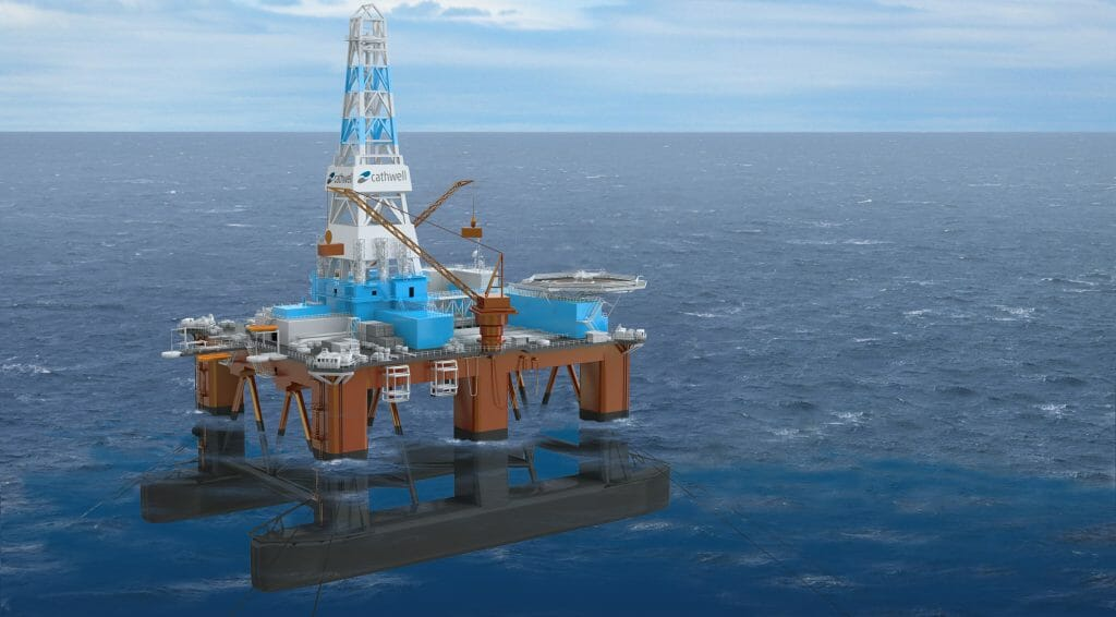 Semi-submersible rig seen under and over water