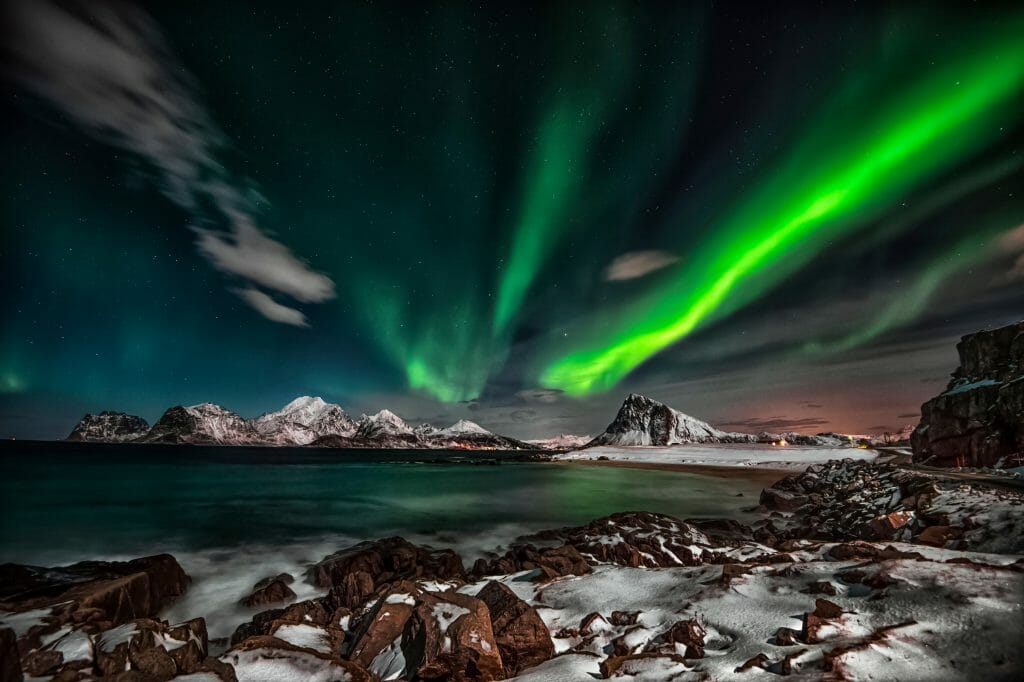 The wild nature of the Lofoten Islands is just as beautiful in winter as the rest of the year, especially when the northern lights come out at night